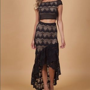 NightCap French Lace  NWOT Crop Top Skirt XS/Small